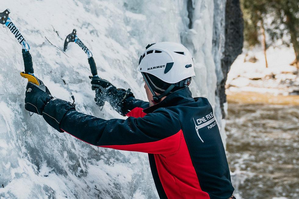 Ice climbing in Elora, Ontario