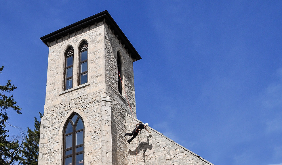 Urban rappelling or stunt rappelling. Rappel off 60ft bell tower for fun or for stunt work.