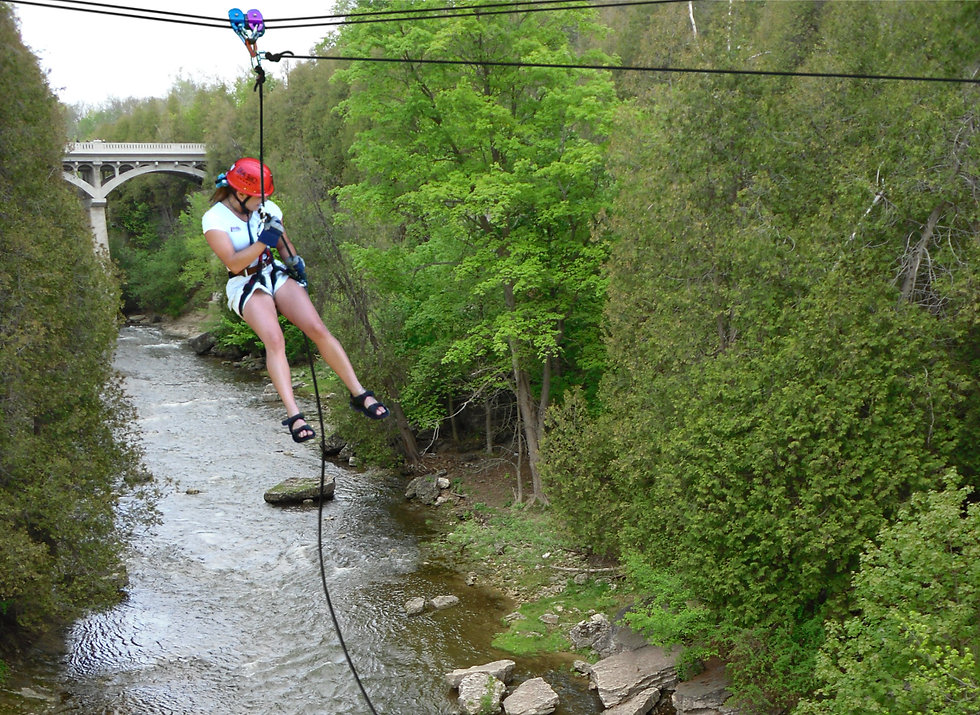 Zipline and rappel in Elora, Ontario. Also includes face-first ziplining!