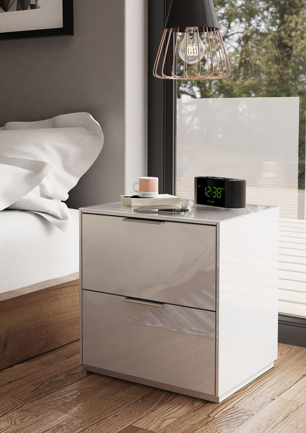 'Smart' bedside in white - this clever piece can charge your phone!