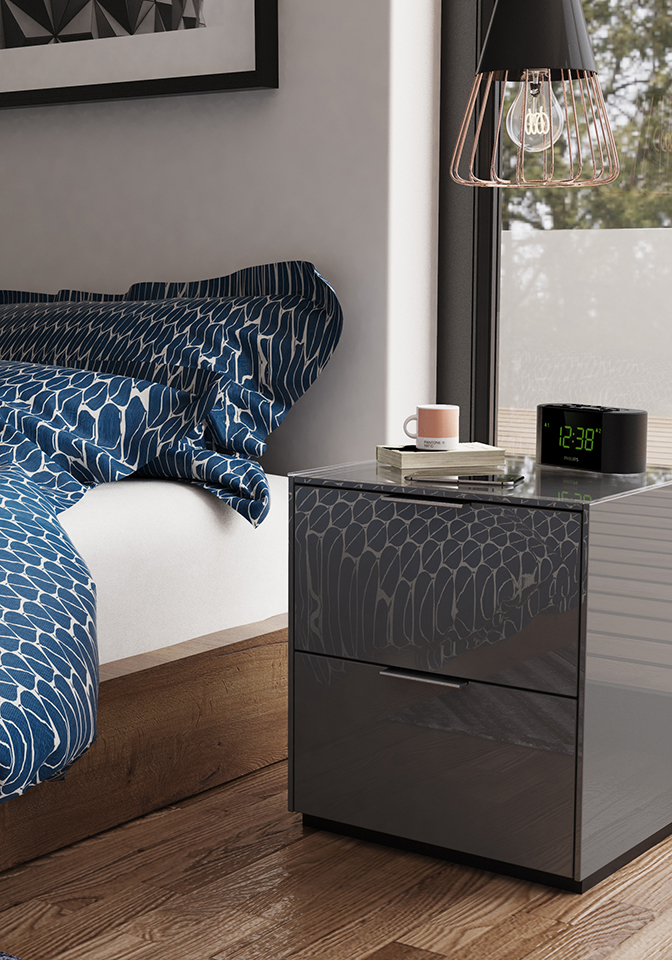 Bedside shown in grey with new styling.