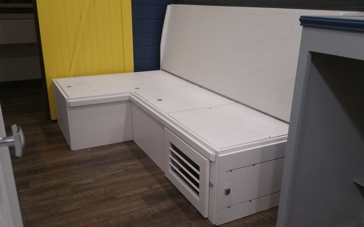 Modern Tiny Couch with Dog Crate Built-In