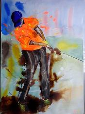 golfeur aquarelle