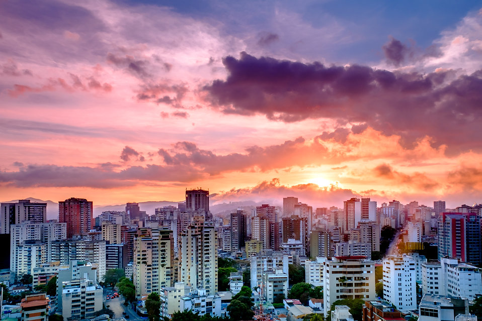 Colorful Sunset over the City, Caracas,