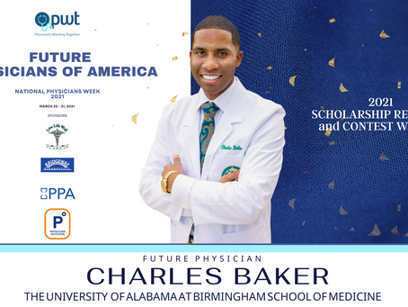 Future Physician, Charles Baker Wins the 2021 PWT Medical Student Scholarship Contest!