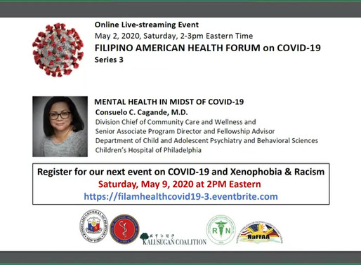 FilAm Heath Forum on COVID19 Series#4: Mental Health