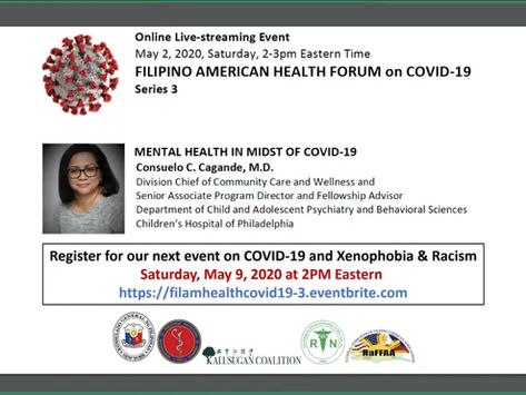 FilAm Heath Forum on COVID19 Series#4: Mental Health