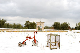 Masseria Faraone   snow fall in the Apulian countryside