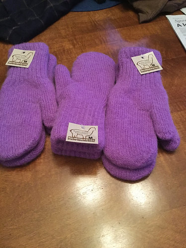 Mitts Bold Boucle Lined Purple
