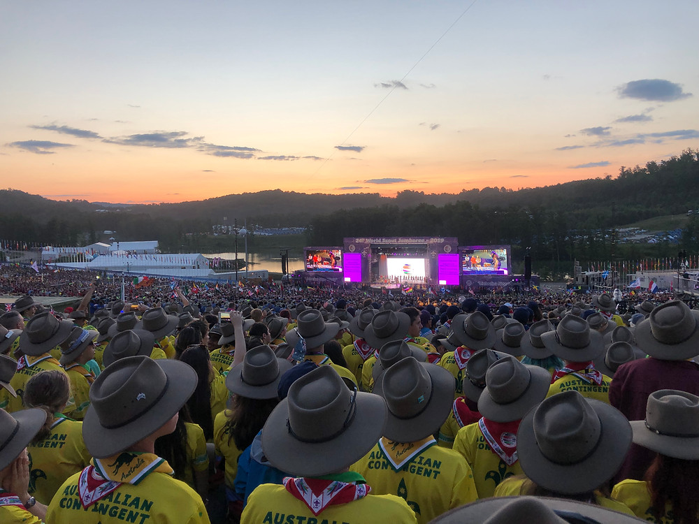 Australian Contingent Members at the Opening Ceremony of the 24th World Scout Jamboree