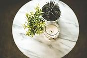 Plantes d'intérieur et bougie