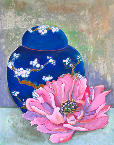 Ginger Jar with Pink Peony
