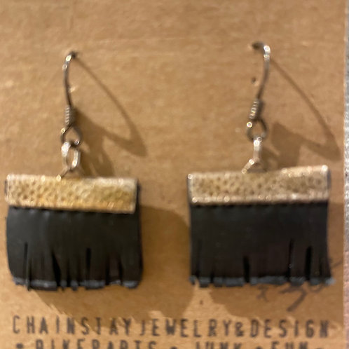 Earrings made from bicycle parts