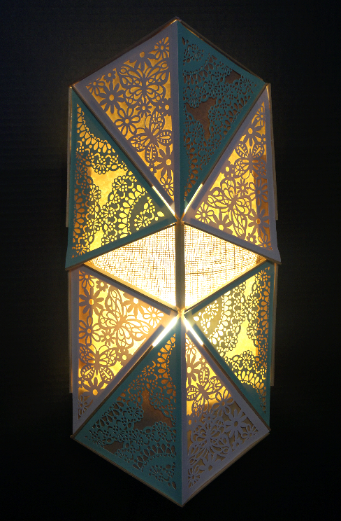 Handcrafted wood and paper lantern.