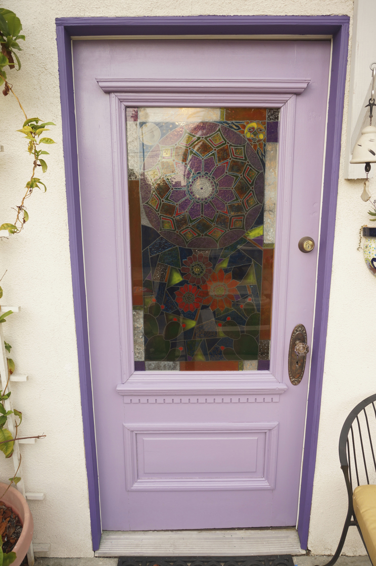 Handpainted stained glass door window