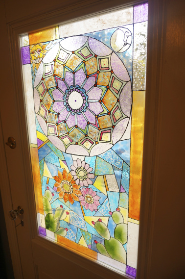 Hand painted stained glass.