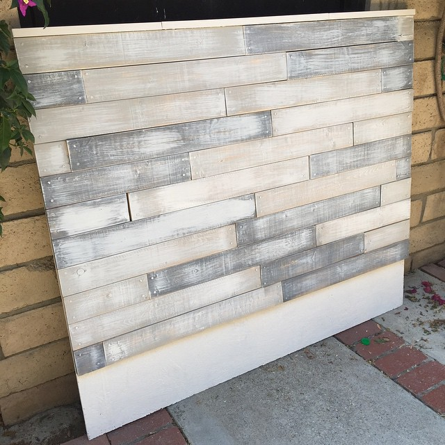 Today we made a headboard. I think it turned out great for $20, the majority of which was spent on s