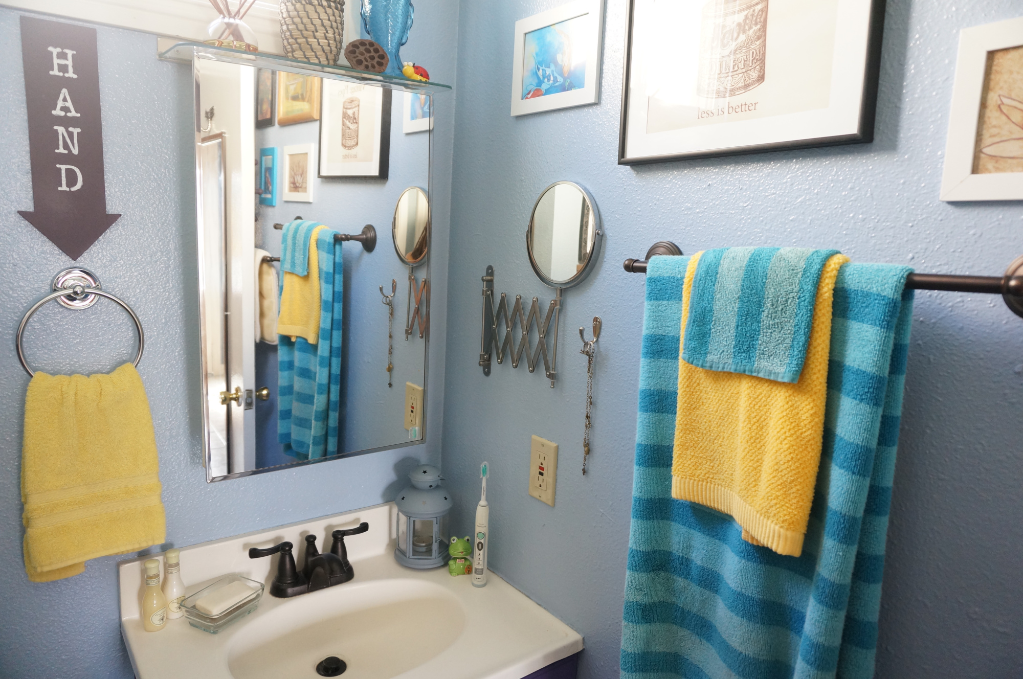 Artful small bathroom remodel.