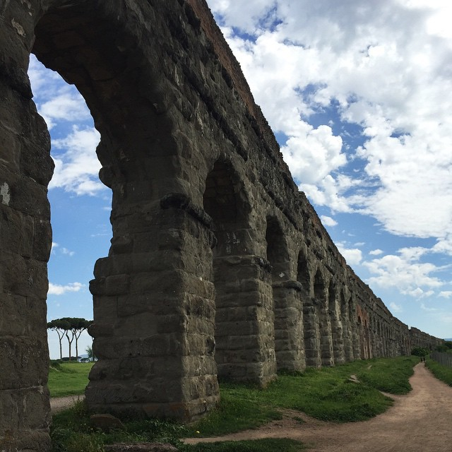 Ancient aqueducts that carried water down from the mountains into Rome