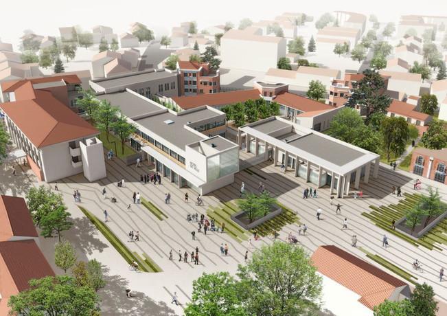 Vue aérienne concours place des Arts, Blagnac