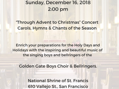 Join us for our Christmas Concert II on December 16, 2018 at 2:00.