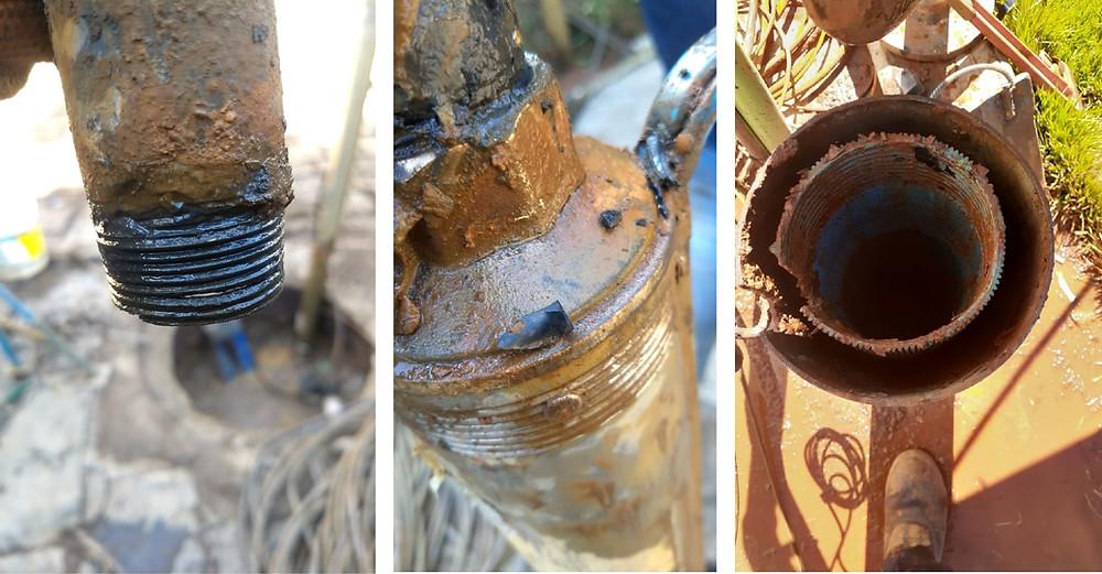 Materiais degradados de poços artesianos sem manutenção