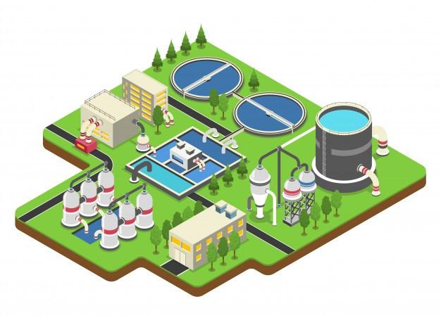 Infográfico de uma estação de tratamento de água in site