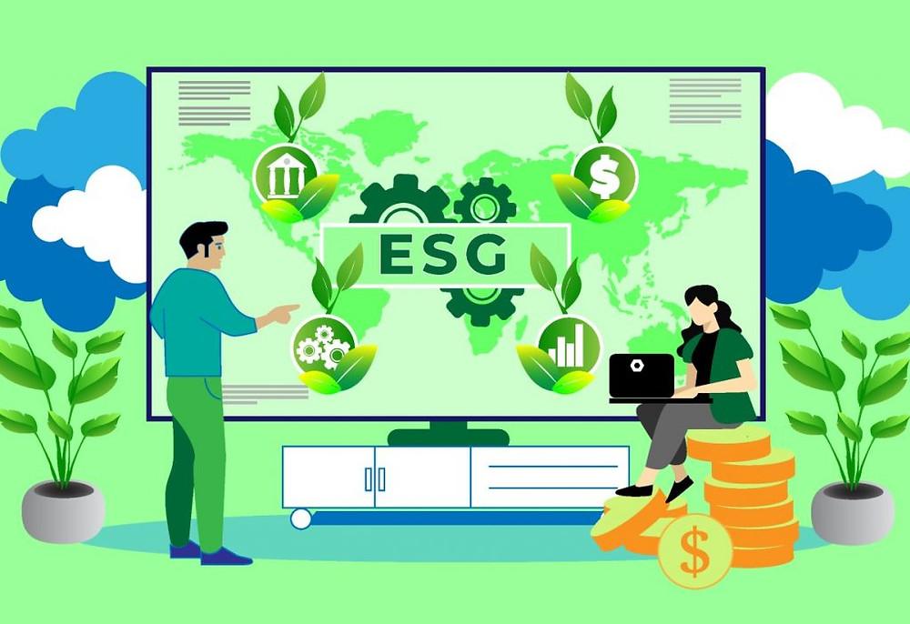Homem e mulher em frente a um painel com a sigla ESG