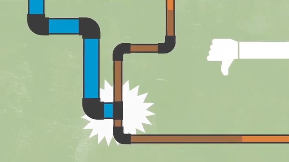 Dedão para baixo em desaprovação da água de concessionária