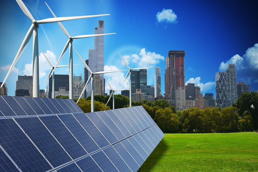 Tecnologia sustentável: energia renovável solar e eólica em campo verde