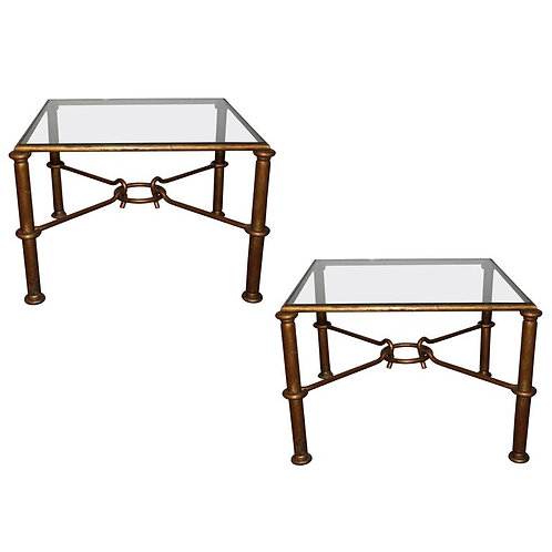 Pair of Coffee Tables in Style of Rene Drouet