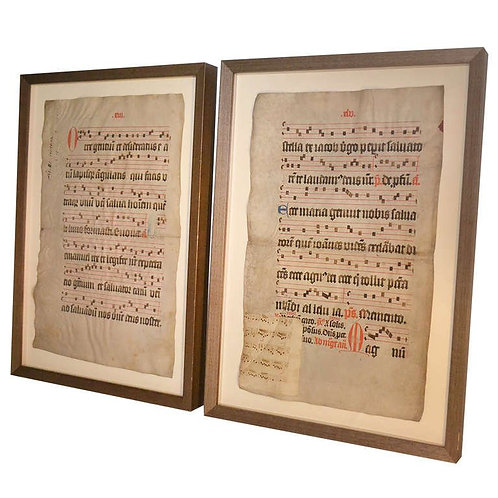 Pair of parchments with oak frames, 16th century