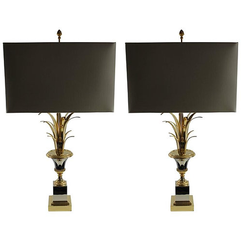 Pair of Maison Jansen Pineapple Lamps