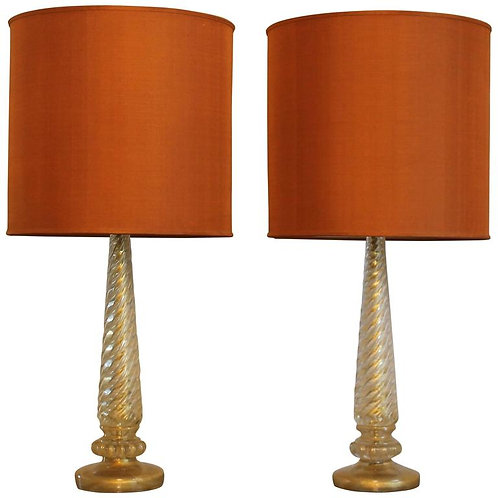 Pair of Murano Table Lamps, Mid-Century Modern