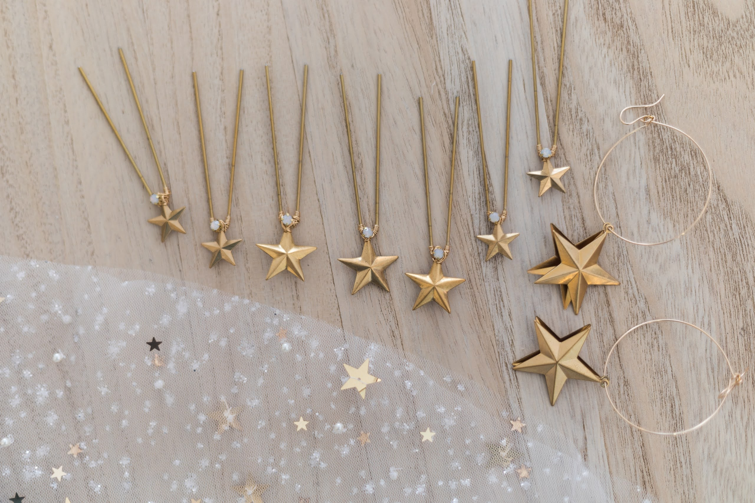 Rare Bridal Studio star accessories close up