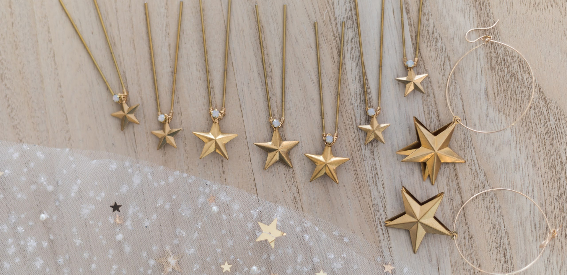 A close up of star accessories