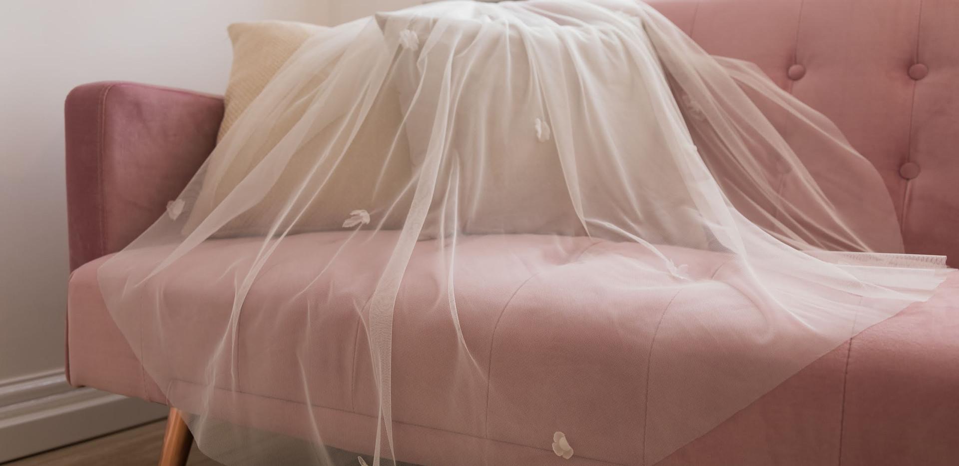 White floral wedding veil