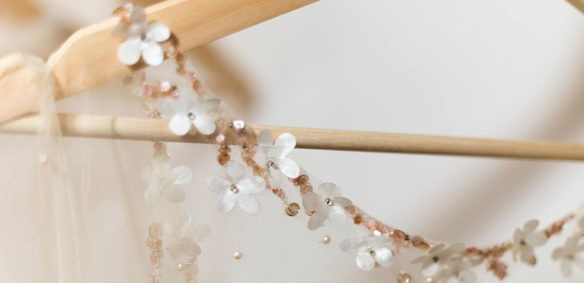 Neckline of wedding dress