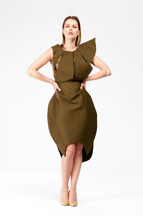 Green Panelled Tulip Dress
