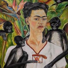 Study of Self Portrait With Monkeys (Frida Kahlo)