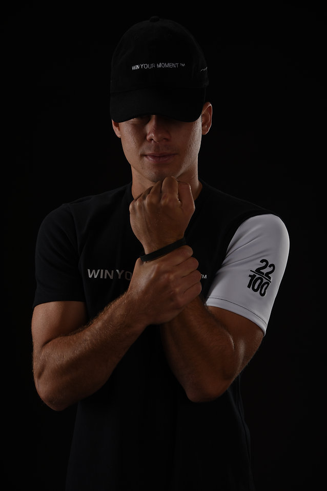 T-shirt, wrist war, hat