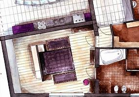 Floor plan, feminin interior design, luxury purple black design