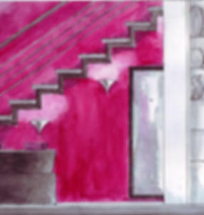 pink-wall-stairs-feminine-interior-design
