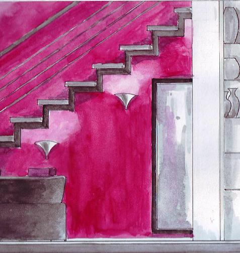 pink-wall-stairs-feminine-interior-design