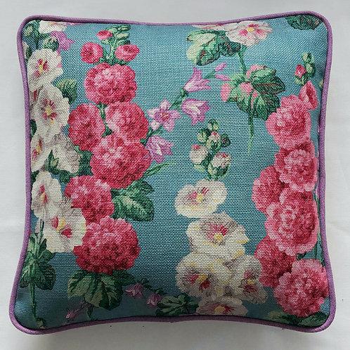"Sanderson Hollyhocks Teal Cushion Cover   43cm ×43cm     17"" × 17"""