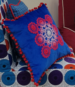 Vintage crochet cushion