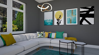 green yellow modern interior with artworks on wall and harmonising cushion arrangement