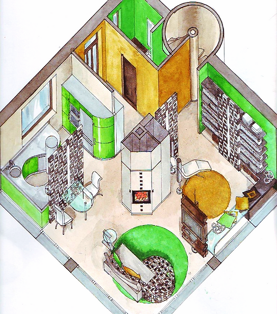 Axonometric drawing, batchelor flat, open plan living room and kitchen