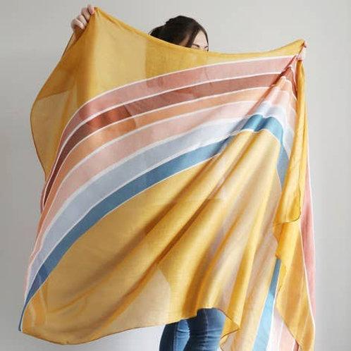 Lightweight Rainbow Stripe Scarf