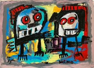 acrylic on handmade paper - 70 x 50